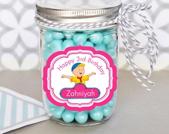 Caillou Birthday Party Personalized Printable Party Mason Jar Labels - Printable File