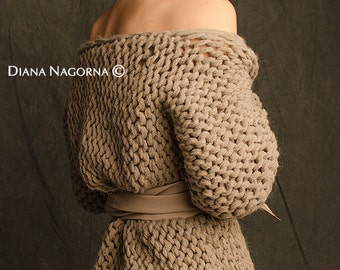 hand-knitted jacket, pastel sweater , ecru color, large volume knitted,knitted jacket with a belt made of genuine leather