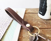 short lanyard leather keychain handmade dark brown