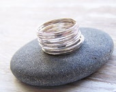 Sterling Silver Stack Ring Set, Hammered Stack Rings, Knuckle Rings
