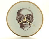 Altered Sugar Skull Wall Clock Plate Porcelain Bronze Hands Day of the Dead Halloween Decor Vintage Mexico Golden Rim White Fun Funny Human