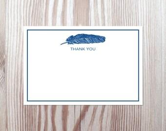 Printable Thank You Note Card PDF - Nautical Feather