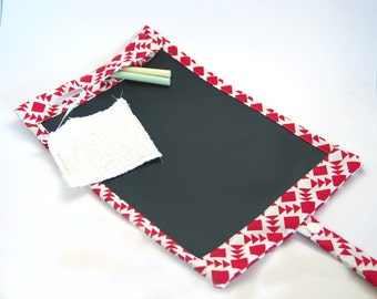 Portable Chalkboard Play Mat/ Placemat Mini  - Limited Edition Red and White Monochrome Print