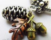 Autumn Fall Pendant Charm With Copper Leaf, Silver Pine Cone And Copper Leaf For Large Hole Bracelet And Necklace Chains