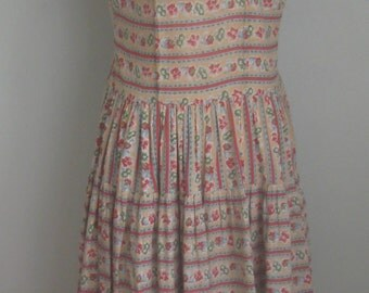 Vintage 1950's Cotton Drop waist Floral Dress// As Is
