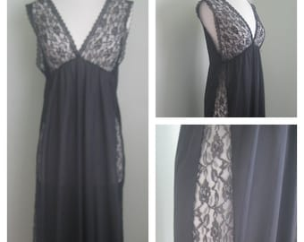 "Vintage Black ""Lana"" Nylon Lacey Insert Nightie"
