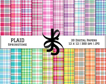Digital Scrapbook Papers-Springtime Plaid-Plaid Patterns-Preppy Papers-Spring Clipart-Wallpapers-Backgrounds-Instant Download Clip Art