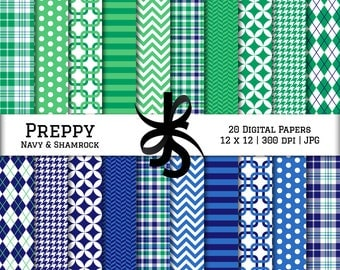 Digital Scrapbook Papers-Blue and Green-Preppy-Navy Blue-Chevron-Argyle-Plaid-Stripes-Preppy Plaid-Backgrounds-Instant Download Clip Art