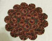 Brown sunflowers fabric candle rug, table topper, with fabric yo yos