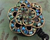 Antique AB Crystal Flower ID Badge Reel - Retractable Badge Holder - Rhinestone ID Badge Clip - Nurses Gift - Nurse Jewelry - Lanyard