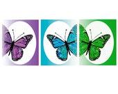 SET of 3 Prints Butterflies Art Prints in Blue Purple Green  8x10 Prints - Butterfly Trio Modern Digital Prints
