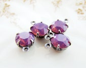 39ss Swarovski Purple Cyclamen Opal Rhinestone DROPS 8mm Round Set Glass Stones Antique Silver Ox Plated Settings 39ss - 4