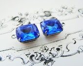 Sapphire Blue 12x10mm Octagon Rhinestone Drops Antiqued Silver Ox Settings Czech Glass Stones - 2