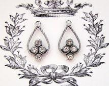 Antiqued Silver Ox Filigree & Crystal Swarovski Rhinestone Drops Earring Dangles Glass Gems - Pair