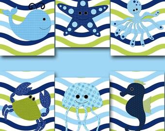 Baby Boy Nursery Art Childrens Wall Decor Sea Wall Decor Kids Room Decor Kids Art Crab Wall Decor Whale Wall Decor set of 6 Blue Green