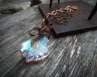Sun Catcher Aurora Borealis Baroque Swarovski Crystal and Copper Chain