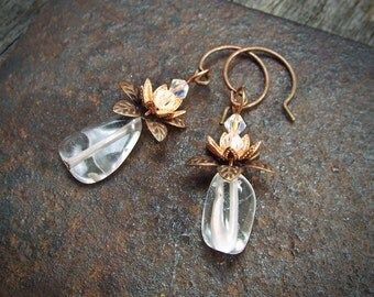 SALE Cute Copper and Quartz Drop Earrings Pineapples