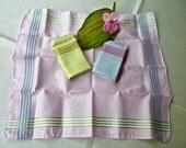 Vintage Handkerchiefs - Set of 3 - Never Used Hankies -Woman's Hankies - Pink Yellow Green Cotton - Damask Purse Hankie -Wedding Bridesmaid