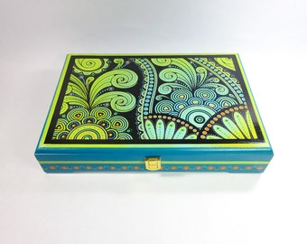 Crazy Paisley handpainted jewelry box