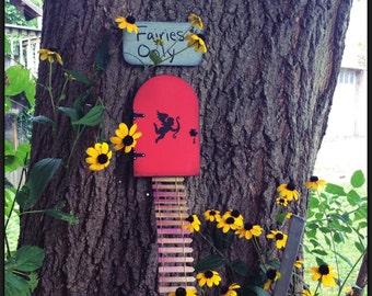 Wedding Gift, Shower Gift, Cupid, Red Fairy Door, Fairy Garden, Garden Decor, Birthday, Gifts for Her, Housewarming, Fairy themes, , Door