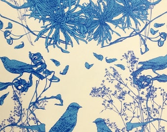 Custom made, hand printed wallpaper, bird motif, blue