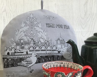 Southsea and Portsmouth Pier, screen printed tea cosy, grey