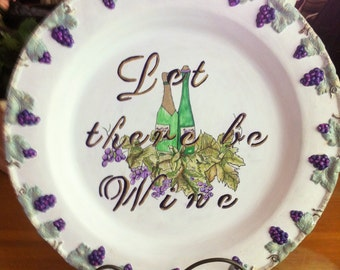 Hand painted Round Silver Tray Wine Theme, Grape Motif Plate, Let There Be Wine, White Chalk Paint Grape Leaves Wine Bottles, Hostess Gift