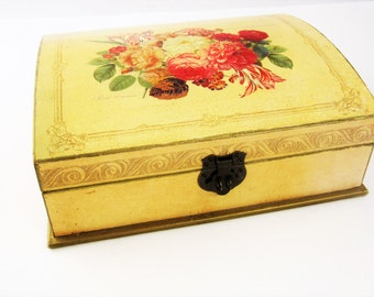 Jewelry/Storage Box - Arched Top - Wood - Baroque-style Rose Flower Display - Brass Hinge - Stash and Store - Finished Inside and Out