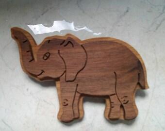 WOODEN ELEPHANT PIN
