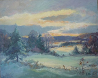 Winter Sunset, Original landscape painting by Carl W. Illig. 16x20 American. Roycroft, NY
