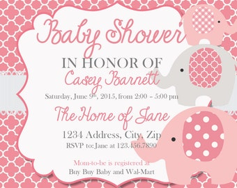 Baby Shower Invitation Elephant Girl Baby Shower Invites Pink Foil backdrop-Instant Download