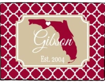Personalized Florida Door Mat Custom State Doormat Indoor Outdoor Rug Choose State Choose Colors