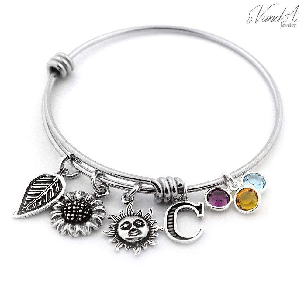 personalized expandable bangle bracelet sterling silver flower