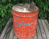Vintage Galvanized Metal 5 Gallon Gas Can Red And Turquoise Metal Handle
