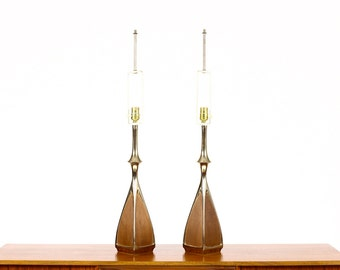 Mid Century Vintage Table Lamp by Laurel - Brass + Walnut - Sinuous Edge - Square base — Pair