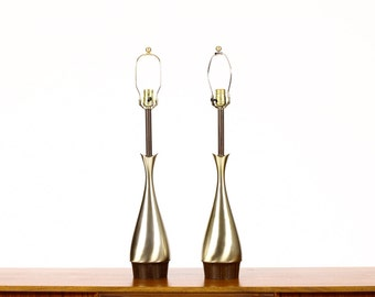 Mid Century Vintage Table Lamp by Laurel - Brass + Walnut - Teardrop Body - Tony Paul — Pair