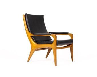Danish Modern / Mid Century Teak Highback Lounge Chair— Sculptural frames w/ Black Vinyl