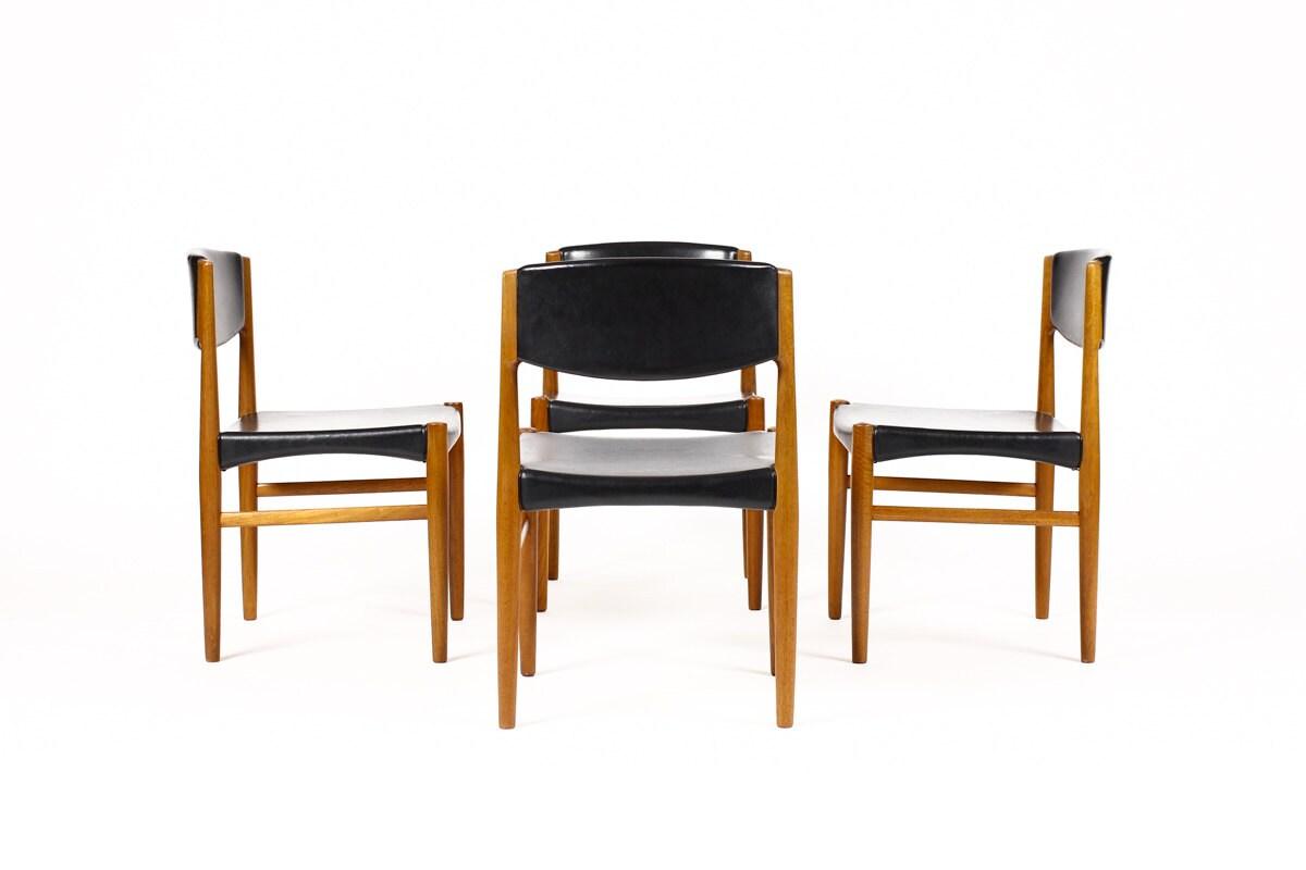 danish modern mid century dining chairs teak frames black