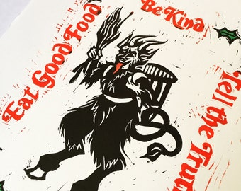 Christmas Krampus - Multi-Color Original Linocut Hand-Pulled Relief Print 11.5 x 15""