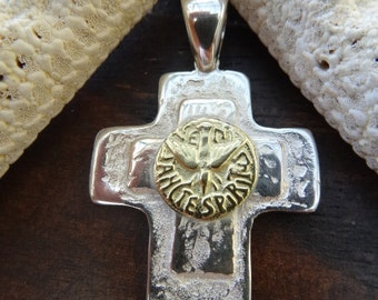Sterling silver and 18k gold field. Two tone Holy Spirit double cross.