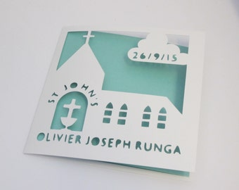 Christening / Baptism Personalised Papercut Church Card