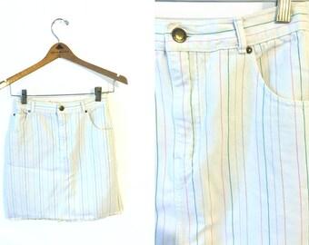 "80s Jordache White Striped High Waisted Denim Pencil Skirt Womens 5 24"""