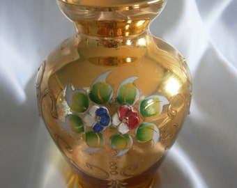 Gold and Floral Vase | Unsigned | Vintage