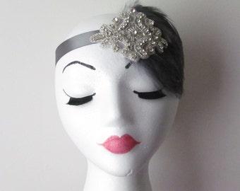 Flapper Headband /   Feather Headpiece / 1920's headpiece