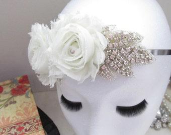 Rhinestone and Floral Headband / Crystal Bridal Headband / The Eunice Headband