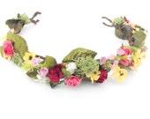 Flower Crown-Bridal Hair Crown-Pink Flower Crown-Boho Wedding Headdress-Head Wreath-Spring Wedding-Keepsake Wedding Crown-MEADOWLARK