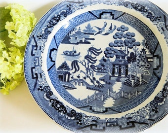 Three Antique Blue Willow Deep Dinner Plates Semi China