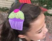 Cupcake head band, hand stitched