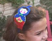 Russian nesting  doll / matrioshka headband, hand stitched