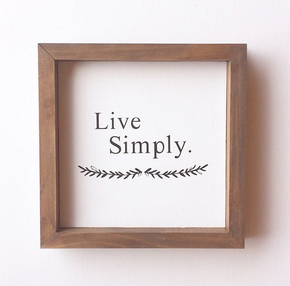 Live simply 9x9 framed black and white home decor wall art for Live simply wall art
